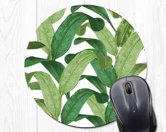 Banana Leaf Mouse Pad Coworker Gift Office Supplies Gift Mousepad Banana Leaf Office Decor Office Desk Accessories Cubicle Decor Tropical
