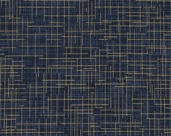 Quilter's Linen Metallic in Midnight by Kaufman Fabrics - 1 yard