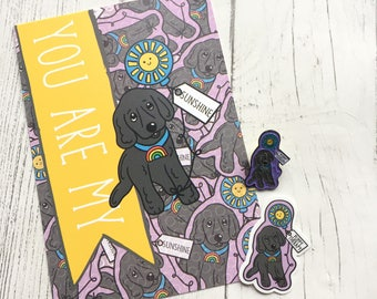 You are my sunshine enamel pin, postcard and sticker set - puppy therapy - cocker spanie - dog lover - thinking of you - anniversary - love