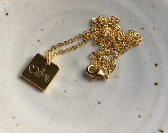 Gold Plated Love Bike Charm Necklace. Heart. Square. Dainty.