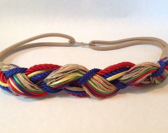 Vintage Braided Twisted Cinch Belt, 1980s