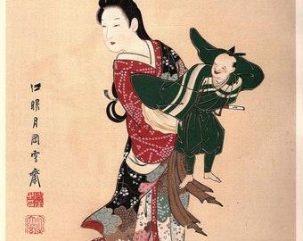 1906, Japanese antique woodblock print, Yukioka Sekkai, from Ukiyoe-ha-gashu.