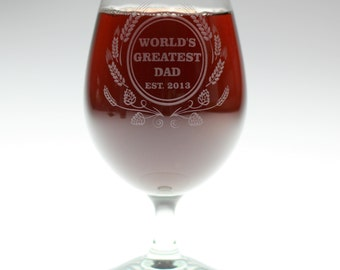 Fathers day gift Engraved Custom Home Brew glass with Worlds Greatest Dad logo. Homebrew,Beer,beer gift,newlywed gift,mens gift