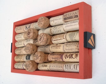 Orange Wine Cork Bulletin Board - Box with Puzzle Handles - Stocking Stuffer