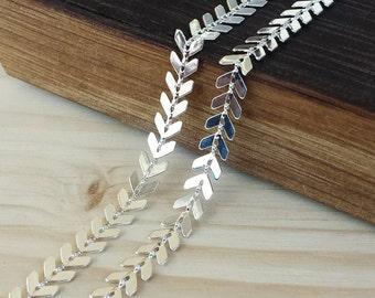 6.5mm Chevron Chain - 1 or 3 feet - Soldered Links - Silver finish - Nickel Free