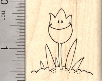 Smiling Tulip Rubber Stamp, Spring E23909 WM