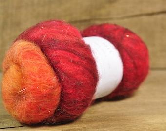 Carded Wool/Luxury Fibre Batt 50g - 'Fire'