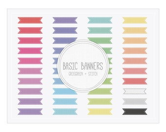 Banner Clip Art - Digital Banner - Basic Ribbon Banners Grosgrain Stitch