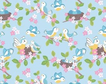 Quilting Cotton - Lewis & Irene - So Darling - Bluebirds on Blue - 1/2m piece