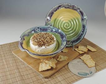 Brie Baker yellow/green/purple glaze