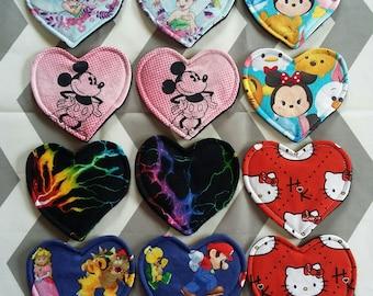 3 Pairs   Custom Reusable Heart Rounds   Fabric Facial Scrubbies / Cup Spots / Nursing Pads / Bra Liners