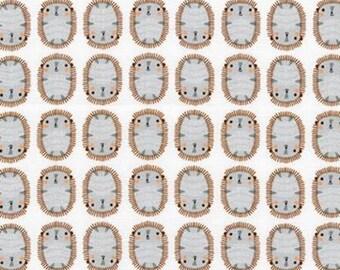 Suzy's Mini's, Mini Hedgehogs on White cotton woven fabric
