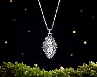 Sterling Silver Raven and Skull - (Pendant Only or Necklace)