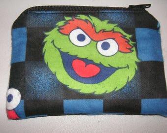Oscar Grouch Muppets Sesame Street fabric handmade zipper coin change purse