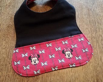 Reversible Red and Black Mouse Baby Bib
