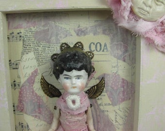 "Fairy ""Moon Dance"" Assemblage Art Doll, Wall Art Assemblage"