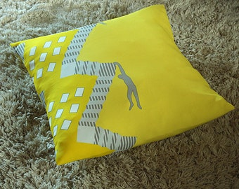 Yellow printed pillow cover 20x20