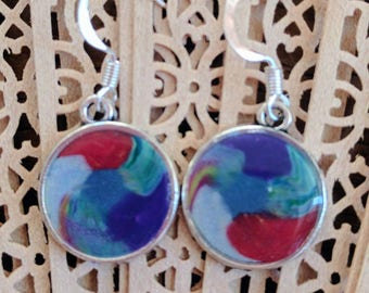 Clay earrings, circular drop earrings, swirl design, polymer clay earrings in silver bezels on French hooks, Red, silver, blue, green, OOAK