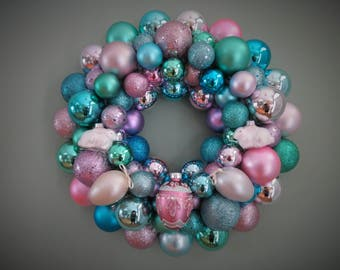 EASTER Wreath PASTEL Wreath Ornament Wreath--Multi-colored with Pink EGG and Bunnies