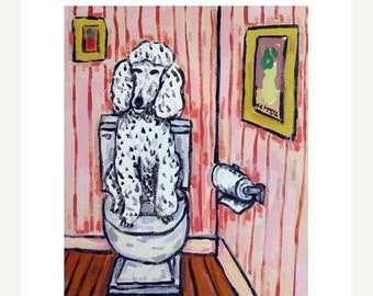 Poodle in the Bathroom Dog Art Print