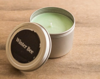 Lemongrass and Green Tea Soy Candle Tin, Soy Candles, Soy Wax Candle, Travel Candle, Camping Candle, Outdoor Candle, Soy Container Candle