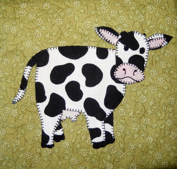 cow pdf applique quilt block pattern farm animal applique