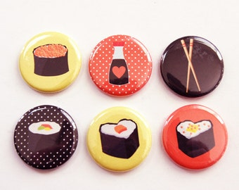 Sushi Magnets, Magnets, button magnets, Kitchen Magnets, Locker Magnets, Food Magnets, Sushi Lover, magnet set, stocking stuffer (3334)