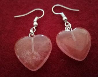 Crystal Handmade Earrings - Heart, Cherry Quartz