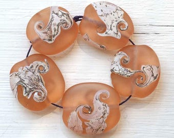 Etched Pink Organic Pebble Beads Handmade Lampwork Glass Bead Set