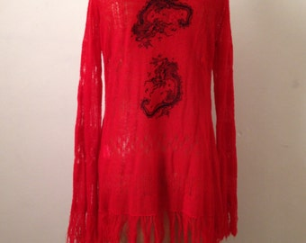 Gorgeous Dragon embroidery fringe cardigan ,cardigan, knit top