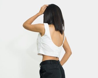 Linen Blouse/ Linen top/ loose linen blouse/ linen top women/ nude back linen blouse/ short sleeve blouse