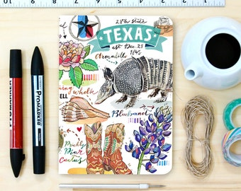 Texas notebook, blank journal, Lone Star State, state symbols, illustration, personalized stationery, armadillo.