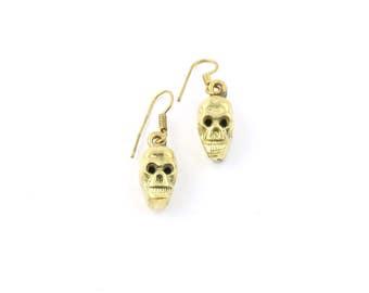 Two Faced Brass Skull Earrings, Skeleton, Biker, Modern, Boho, Wiccan, Festival Jewelry, Gypsy, Contemporary