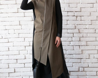 Khaki Long Formal Vest/Elegant Tunic Top/Oil Green Asymmetric Shirt/Extravagant Sleeveless Jacket/Open Back Loose Tunic/Plus Size Long Top