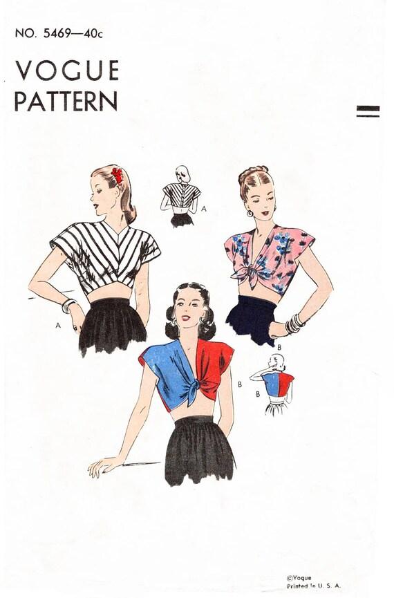 1940s 40s crop top beachwear // vintage sewing pattern repro