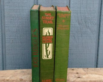 Vintage Green Book Collection - Green Book Set - Set of 3 Green Books - Farmhouse - Cottage - Green Home Decor