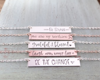 Customized Bar Necklace  Personalized Bar Necklace Your Choice of Gold  Rose Gold  Sterling Silver  Inspirational Jewelry, Christian Jewelry