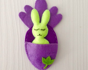 Rabbit in bed felt Ornament, Bunny in bed Felt, Easter Ornament, Bunny Lovers, Cute rabbit, Easter Handmade Oster Hase, Ostern Hausdekor