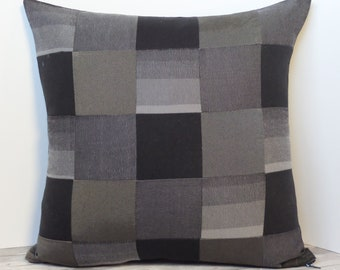 """Recycled textiles slipcover for 18"""" cushion -- black & grey"""
