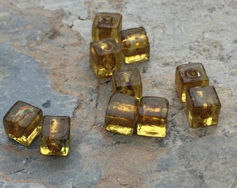 Yellow Gold Cube Beads, Small Glass Cube Beads, 6mm, 10 beads per package