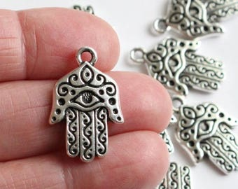 """Silver Hamsa Pendants, 1"""" TierraCast Antiqued & Plated Pewter, 26.27mm Spiritual Prayer Talisman With Protective Eye (sold individually)"""