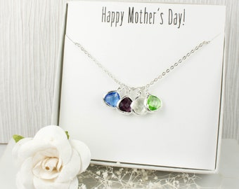 Birthstone Silver Necklace, Mothers Day Necklace, Silver Necklace, Mothers Day Gift, Gifts For Mom, Gifts Under 20
