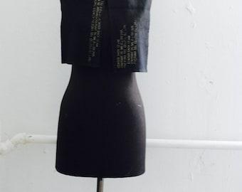 sale Black Linen Scarf, Last One, Text Printed, Edgy Scarves, Fashion Accessories,  Unique