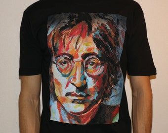 JOHN LENNON WATER Paint T shirt,men's T shirt,custom printed garments,ladies top,kids t shirts