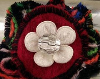 Multicolored fabric and Red boiled wool brooch