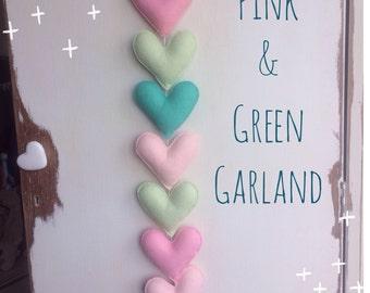 Pink & Green Heart Garland