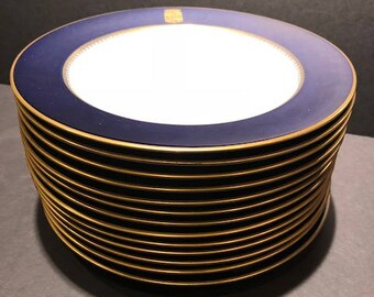 Fabulous Set of 12 Original Vintage Dinner Plates from Book Cadillac Hotel Detroit