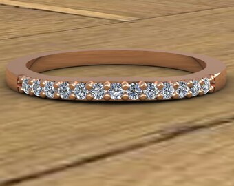 Curved Wedding Band - Thin Diamond Ring - 14k Rose Gold - An Original Design by Charles Babb