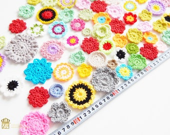Colorful flowers. Assorted Crochet Flower Appliques. Set of 70 Assorted Flower Appliques. Crochet flowers applique 70 PCS. Handmade