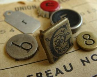 """Vintage Metal Numbers Typewriter Keys Mixed Steampunk N0"""" identification 29"""